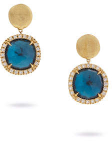 Marco Bicego Jaipur Drop Earrings with Blue Topaz & Diamonds