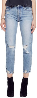Mother The Tomcat High Waist Ripped Crop Straight Leg Jeans