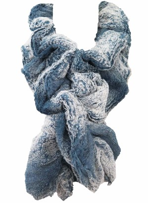 Lina & Lily Twist Pull-Through Winter Faux Fur Scarf (Blue/White)