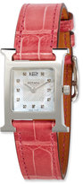 Hermes Heure H PM Watch with Diamonds & Raspberry Alligator Strap