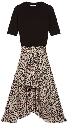 Maje Rapri Knit & Leopard Print Satin Midi Dress