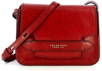 The Bridge Red Leather Lucrezia Crossbody Bag