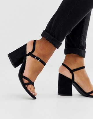 New Look low block barely there sandal in black PU
