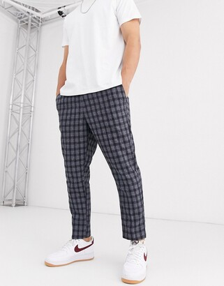 New Look slim cropped window check trouser in dark blue
