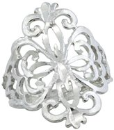 Sabrina Silver Sterling Silver Floral Pattern Filigree Ring, 3/4 inch, size 6
