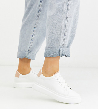 ASOS DESIGN Wide Fit Doro chunky lace up sneakers in white and beige
