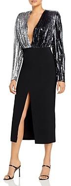 David Koma Pleated Sequins Pencil Dress