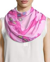Anna Coroneo Silk Chiffon Square Hot Dogs Scarf, Pink