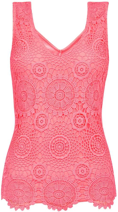 Dorothy Perkins Womens Neon Pink Guipure Lace Vest