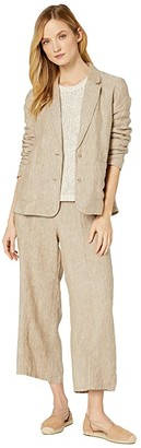 Eileen Fisher Washed Organic Linen Delave Notch Collar Shaped Blazer (Khaki) Women's Clothing