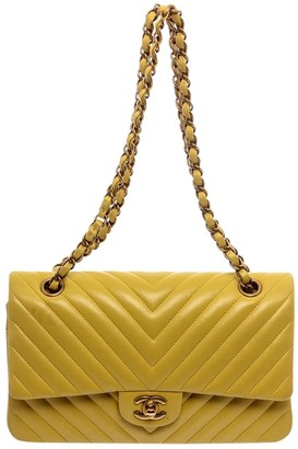 Chanel Timeless/Classique Yellow Leather Handbags