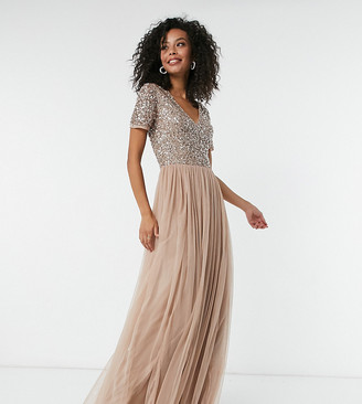 Maya Tall Bridesmaid v neck maxi tulle dress with tonal delicate sequins in taupe blush