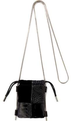 Alexander Wang Ryan Micro Suede, Croc-effect And Textured-leather Shoulder Bag
