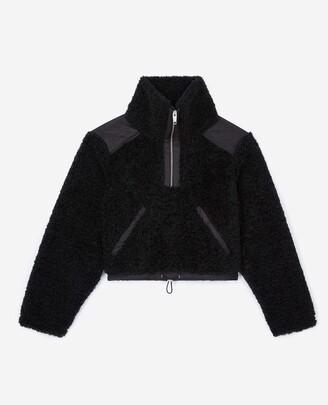 The Kooples Dual-fabric black sweatshirt with roll neck