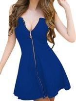 Allegra K Women's Strapless Exposed Zipper Front Mini A-Line Dress XL