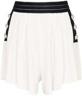 Balmain White Flared Stretch-knit Shorts