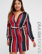 Club L Plus Midi Shirt Dress In Stripe
