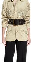 Ralph Lauren Western Studded Leather Belt, Dark Brown