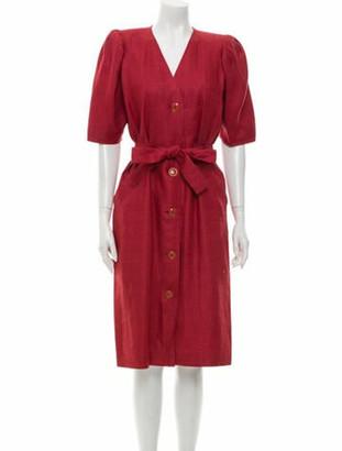 Saint Laurent V-Neck Midi Length Dress Red