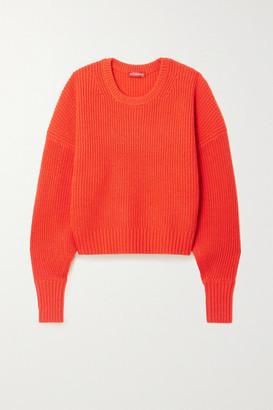 Altuzarra Anthea Cutout Ribbed Cashmere And Cotton-blend Sweater - Orange