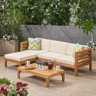 Longshore Tides Dwayne Outdoor 5 Piece Sectional Seating Group with Cushions Frame Color / Cushion Color: Teak Frame / Beige Cushion