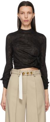 Rokh Black Mesh Knot Twisted Long Sleeve T-Shirt