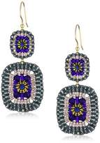 Miguel Ases Blue Quartz and Swarovski Square Drop Earrings