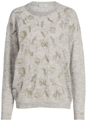 Brunello Cucinelli Mohair & Alpaca Floral Embellished Knit Sweater