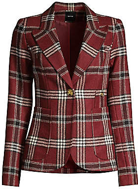 Smythe Women's Plaid Patch Pocket Duchess Blazer