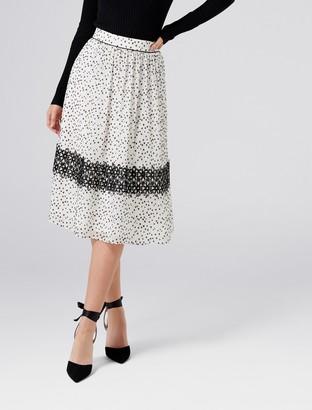 Forever New Crystal Lace Prom Skirt - Black/Porcelain - 4