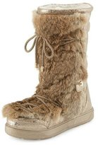Moncler Laetitia Fur Lace-Up Boot, Beige