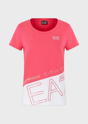 Ea7 Oversized Colour-Blocked Jersey T-Shirt