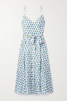 Carolina Herrera Belted Floral-print Silk-twill Midi Dress - White