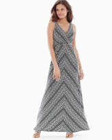 Soma Intimates Surplice Maxi Dress Coastal Stripe Black