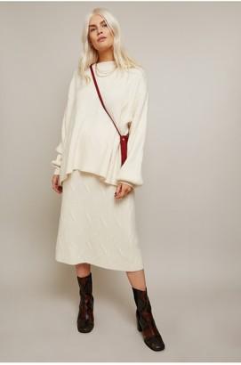 Little Mistress Admire Cream Geo Ribbed Skirt Co-ord