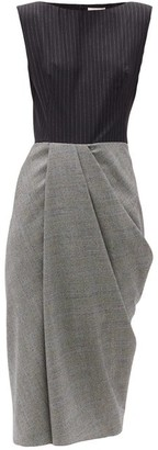 Alexander McQueen Pinstripe And Checked Wool-blend Midi Dress - Grey Multi