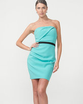 Le Château Double Weave Pleated Strapless Dress