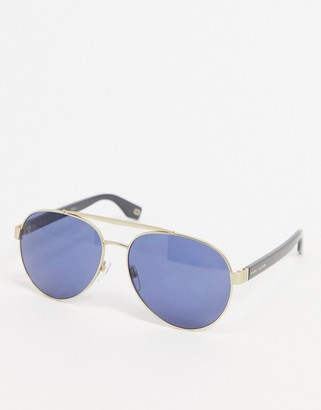 Marc Jacobs aviator sunglasses in gold with blue lens