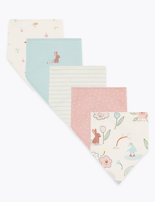 Marks and Spencer 5 Pack Organic Cotton Printed Dribble Bibs