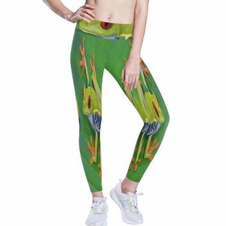 Linomo Women's High Waist Yoga Pants Animal Frog Green Leaf Workout Running Pants Yoga Leggings for Women