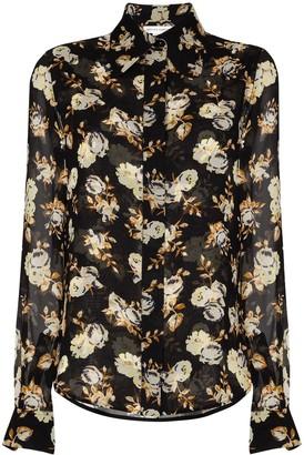 Victoria Beckham Floral Print Silk Shirt