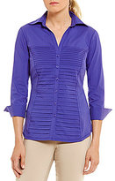 Investments Button Front Pintuck Blouse