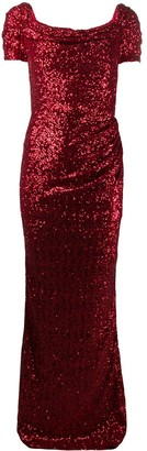 Dolce & Gabbana Sequinned Gathered Dress