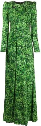 Dolce & Gabbana Four-Leaf Clover printed maxi dress