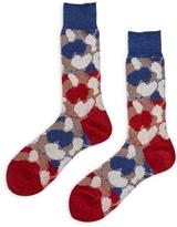 Ayame Paneled Camouflage Socks Blue