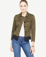 Ann Taylor Petite Lace Trim Peplum Jacket