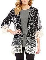 Jolt Printed Lace-Detailed Kimono