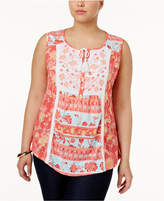 Style and Co Plus Size Embroidered Peasant Top, Created for Macy's