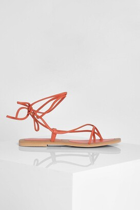 boohoo Leather Toe Post Wrap Up Strappy Sandals