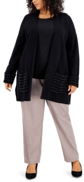 Alfani Plus Size Solid Embellished Cardigan Sweater, Created for Macy's